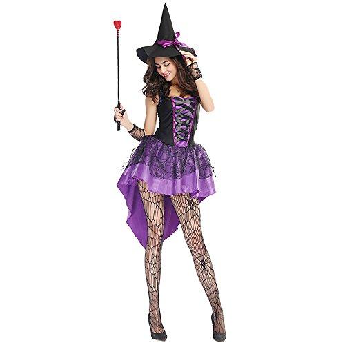 Hukangyu1231 Halloween Kostüm Hexe Lila Schwalbenschwanz Hexe Kostüm Geisterfest Party Spiel Damen Halloween Kostüm (Größe : L)