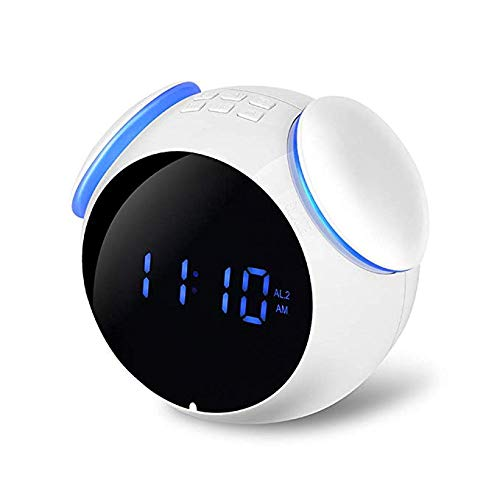 Smart Wireless Bluetooth Digital Alarm Clock/MP3 Subwoofer, Stereo Surround Sound Quality/Three Play Modes/Bluetooth4.2/LED-Spiegelfläche, Office Home Outdoor Square Dance,White White Square Clock