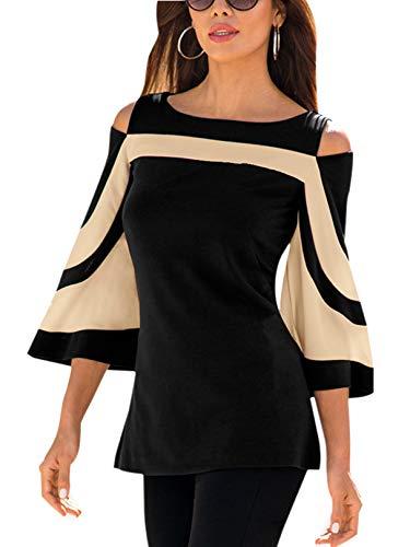 YOINS T-Shirt Damen Elegant Herbst Oberteile Damen Sexy Bluse Schulterfrei Casual Tops
