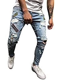 e89037eb9778 Tomatoa Herren Jeanshose Destroyed Stretch Jeans-Hose Slim-Fit Jeans  Freizeithose Denim Skinny Jeans