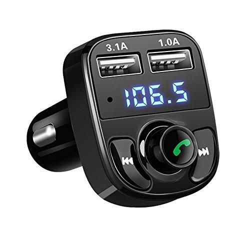 Fm-transmitter Für Auto Blitz (ONEVER Bluetooth FM-Transmitter, 2 USB Kfz-Ladegerät Wireless In-Car-Musik-Adapter Musik-Player Freisprechen Car Kit mit TF-Kartensteckplatz und 3,5 mm AUX-Buchsen für Smartphone)