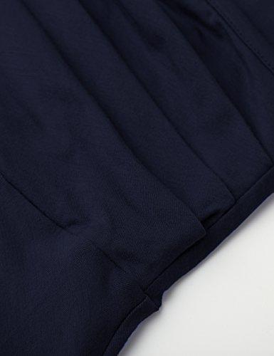 WAJAT Damen Wickelkleid A-Line V-Ausschnitt Casual Vintage Elegante Kleider Langarm-Dunkelblau
