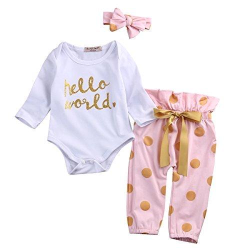 MA&BABY Neugeborenes Babykleidung Fliegende Lange Ärmel Mädchen Gedruckt Schleife Outfits Top + Hosen + Stirnband 3 Stück Kleidungs Satz (Pink, 0-6(Monate))