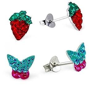 2 Paar Kristall Erdbeere + Schmetterling Ohrstecker 925 Echt Silber Mädchen Ohrringe