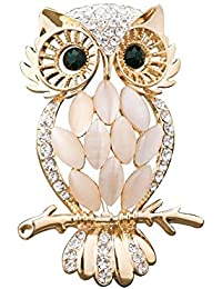 Mother's day Gift Vintage Antique Owl Brooch Ladies Brooches Pins with Opal Swarovski element Crystal