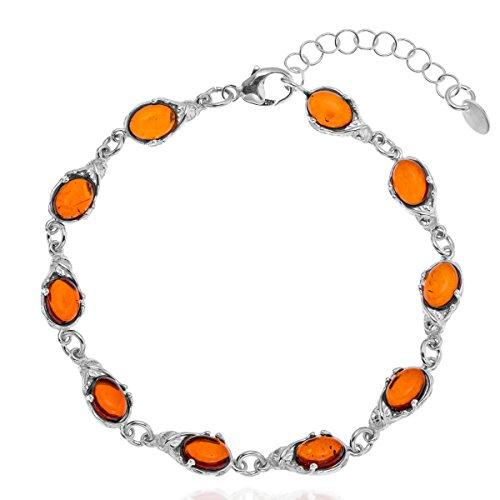 Copal Damen Armband Bernstein Silber Natur Länge Flexibel Schmucketui Besondere Geschenke für Frauen