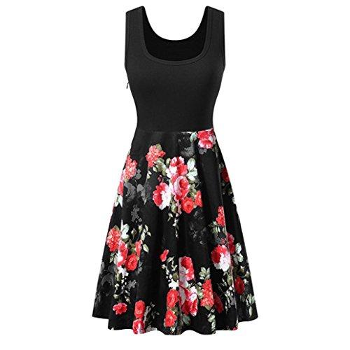 Longra Damen Vintage Sommerkleid Ärmelloses Beiläufiges Strandkleid Tank Kleid mit Flatterndem Rock Blumenmuster Trägerkleid Knielang A...