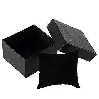 Kongnijiwa Black Present Gift Boxes Case Bangle Jewelry Ring Earrings Wrist Watch Box Storage Holder Organizer Case 8.8x8x5.5cm