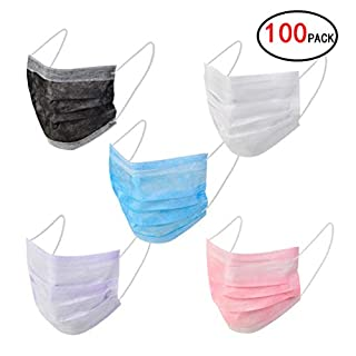 Ciaoed 100 pcs Disposable Mask Medical Face Masks,Flu Masks Earloop Face Disposable Masks for Filter Dust and Bacteria to Protect Respiratory System,5 colors each 20 pieces Masks.