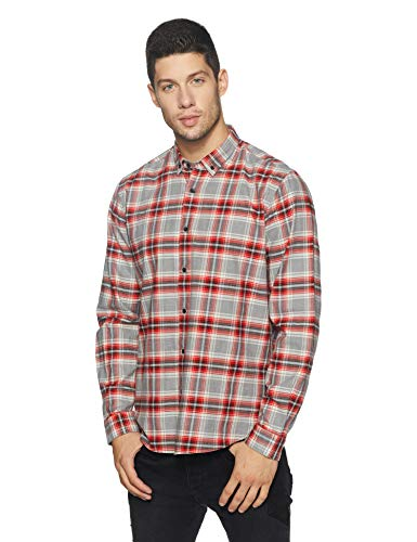 blackberrys Men's Checkered Slim Fit Casual Shirt (US CH 647# Burnt RED!_Burnt Red!_39)