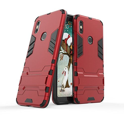 GoodcAcy Funda Xiaomi Redmi S2 con Soporte 2in1 Duro PC Suave TPU Silicona Caso Cover con[Pantalla de Vidrio Templado] Armadura Carcasa Case Fundas para Xiaomi Redmi S2 Rojo