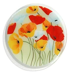 Peggy Karr Handcrafted Art Glass Wild Poppies Plate, Round, 11-Inch by Peggy Karr