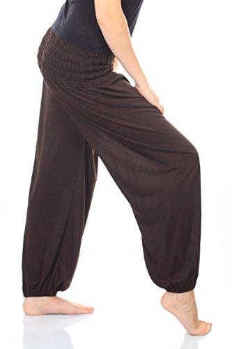 Damen Yoga Pant 19 Farben Haremshose Pumphose Pluderhose bequem Einheitsgröße S - XXL, Farbe:dunkelbraun