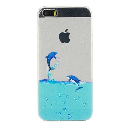 iPhone 5s Hülle Silikon, LuckyW TPU Handyhülle für Apple iPhone 5 5S SE Soft Silikon Tasche Transparent Schale Clear Klar Hanytasche Durchsichtig Rückschale Ultra Slim Thin Dünne Schutzhülle Weiche Fl Pinguin