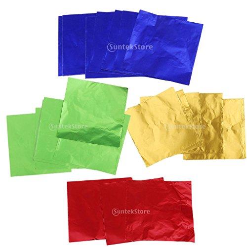 Sharplace 200/400pcs Schokoladen Süßigkeits DIY Paket Folien-Papier Aluminium Verpackungen - Farbe3 400pcs 8 x 8 cm