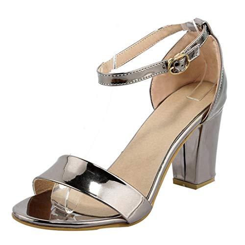 Artfaerie Damen Chunky Heels Knöchelriemchen Sandalen Blockabsatz High Heels Sandaletten mit 7cm Absatz Open Toe Sommer Schuhe (EU 36,Taupe) -