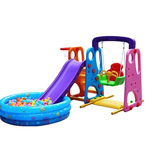 Thole Kinder Spielplatz Schaukel Mit Rutsche Und Basketballkorb Mit Kugelbecken Und Luftpumpe Kombination FüR Indoor/Outdoor Garten Rutschbahn