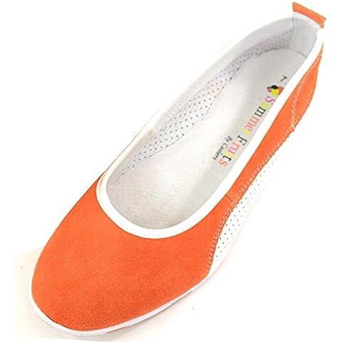 Da donna, in pelle scamosciata, da donna, estivi, Slip-On, motivo: Ballerina, suola piatta, con pompe o scarpe