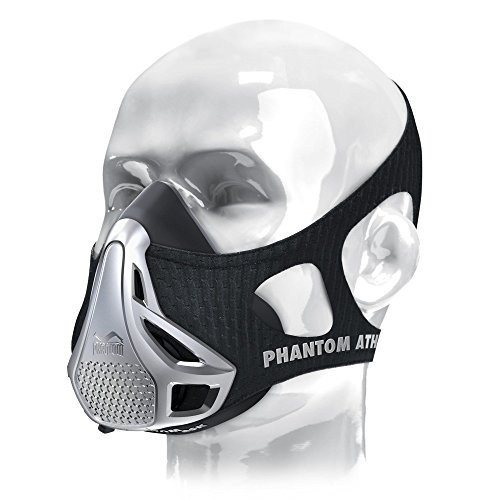 Phantom Athletics Erwachsene Training Mask Trainingsmaske, Mehrfarbig (Schwarz/Silber), M