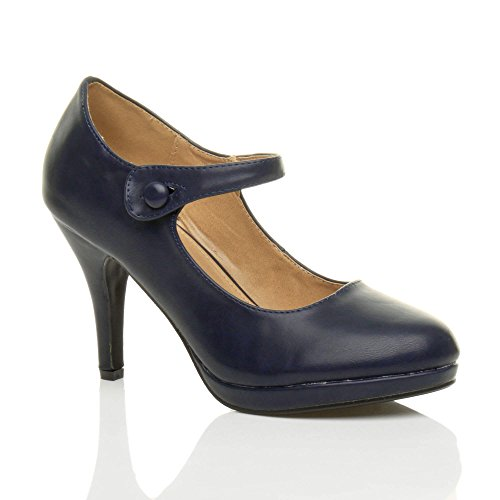 Femmes talon haut Mary Jane soir travail escarpins babies chaussures pointure Mat bleu foncé marine