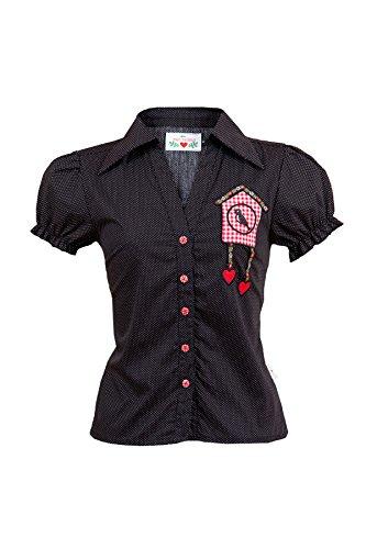 Mein Herzblut Trachten Bluse schwarz gepunktet mit Kuckucksuhr-Applikation Gr. 34-44 (M, schwarz)