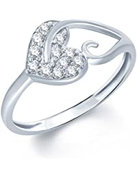 V. K. Jewels Pleasing Heart (Cz) Rhodium Ring For Women - Fr1012R [Vkfr1012R]