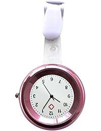 Ellemka JCM-2103 - Reloj Enfermera FOB de Bolsillo Clip Médico Medicina y Enfermería Analógico Funcional Cuidado-s Hospitalario-s Quarz Cuarzo Correa Estilo Color Rosa Pink