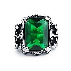 Idea Regalo - Valily Anello Uomo Artiglio del Drago in Acciaio Inossidabile con 35carati Smeraldo Simulato Cubic Zirconia Taglia 30