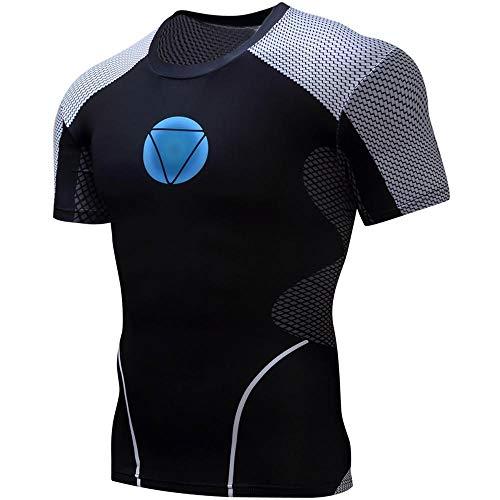 WENHUI Herren Sport Kurzarm Iron Man Fitness Shirt Sommertraining T-Shirt Schnelltrocknendes Kompressions-T-Shirt A-XL
