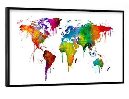 artboxONE Poster mit schwarzem Rahmen 90x60 cm Kartografie Aquarellkarte der Welt - Bild Weltkarte