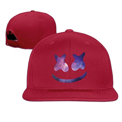 Hittings Unisex marshmello face smile baseball cap White Red d42984e3614