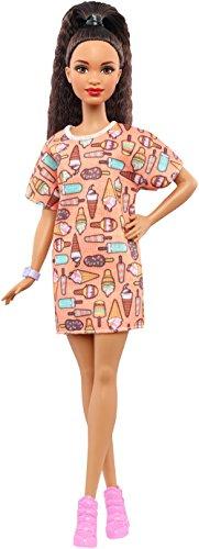 Preisvergleich Produktbild Mattel Barbie DVX78 - Fashionistas Puppe im T-Shirt Kleid mit Eiscrememuster