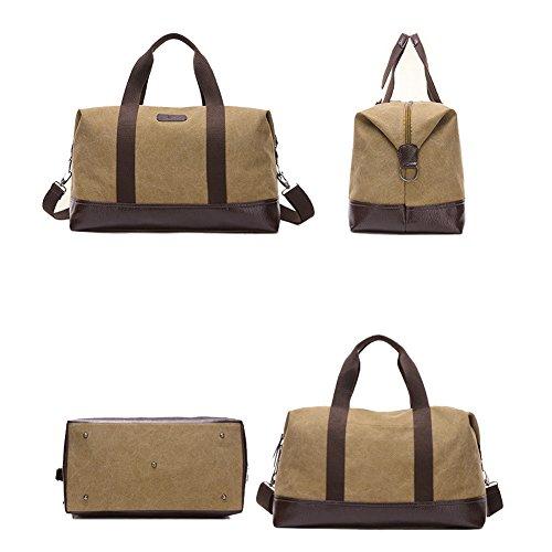Plover's Tasche Gepäck Tasche Handtasche Grosse Kapazität Kreuzkörper Segeltuch für Geschäftsreise Reise Khaki