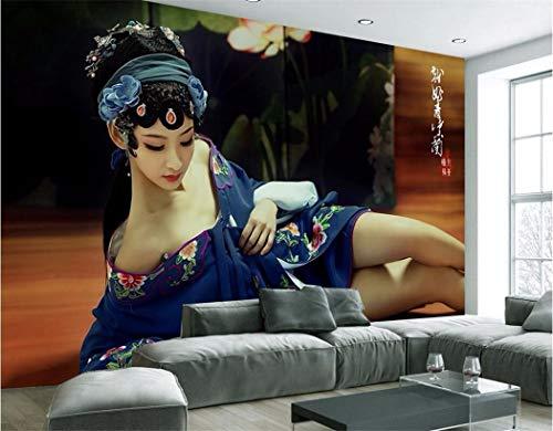 Tapeten Benutzerdefinierte Wandbild 3D Wallpaper Chinesischen Theater Kostüm Schönheit Dekor Malerei 3D Wandbilder Tapete (Benutzerdefinierte Theater Kostüme)