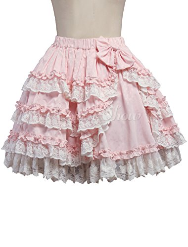 Rock Lolita (antaina Rosa Baumwolle Blumenspitze Rüschen Layered Bowknot Sweet Knielang Elegant Lolita Unterrock Faltenrock,M)