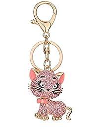 e232f06243851 Funnyrunstore Luxury Strass Katze Form Schlüsselbund Frauen Tasche  Handtasche Schlüsselanhänger Autoschlüssel Anhänger…