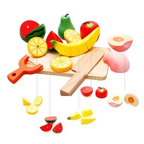 Spielen Essen Set Küchenutensilien Spielzeug Kochen Lebensmittel Sets Magnetische Holz Gemüse Obst, Frühe Entwicklung lernen Spielzeug Geburtstag Geschenke für Kleinkinder, Jungen, Mädchen