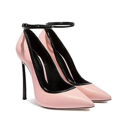 Damen High Heels Leder Schuhe Pumps Casual Geschlossene Zehe Party