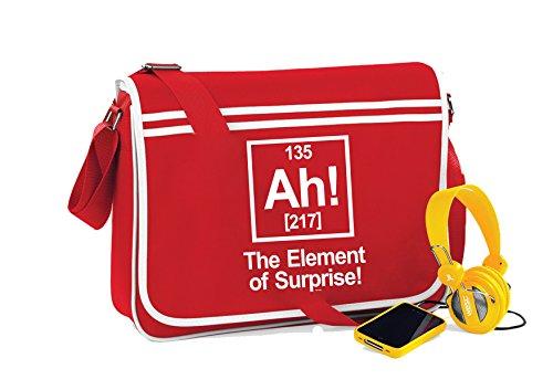 AH! Element Of Surprise-Unisex-lustige Sprüche Neuheit Retro Messenger Bag- Kirschrot
