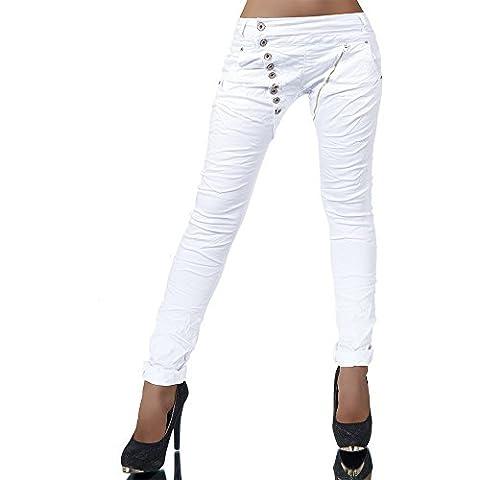 L368 Damen Jeans Hose Boyfriend Damenjeans Harem Baggy Chino Haremshose, Farben:Weiß;Größen:38 (M)