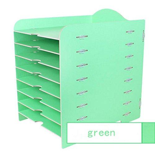 Liuyu · Maison de vie Boîte de rangement Creative bureau bricolage bureau Woody 8 couches fichier finition armoire multifonction ( Couleur : Vert )