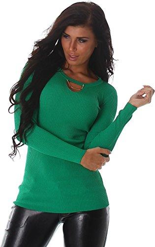 Voyelles signore camicia felpa maglione pullover a coste allentato girocollo 38,40,42 Verde