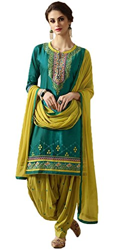 Nirjas Designer dress materialfor women party wear designer, Cotton Patiala Salwar Suit Dress Material,Navy Blue & Orange Color(ND-3001)