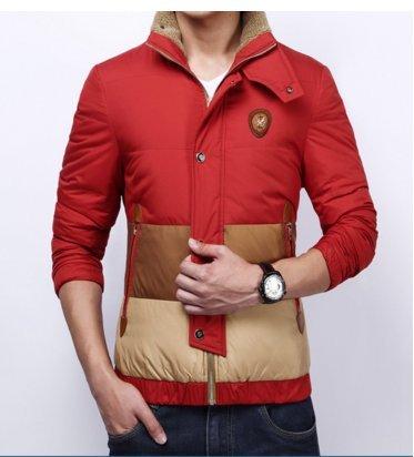OHmais homme parka manteau d'hiver veste fourré Rouge