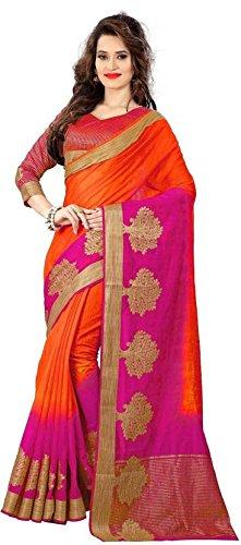 TexStile Women Tassar Silk Orange Colour Saree with Blouse Piece (SE_Tassar Silk_Sari...