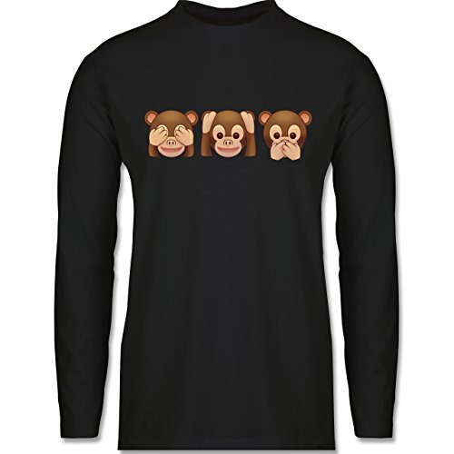 Shirtracer Comic Shirts - Äffchen Emoji - Herren Langarmshirt Schwarz