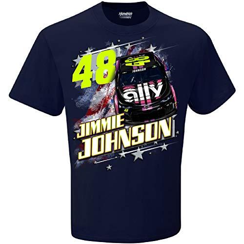 Checkered Flag 2019 NASCAR Herren Patriotische USA 2-Punkt Driver/Sponsor T-Shirt, Herren, Jimmie Johnson #48/Navy, XX-Large -