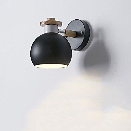 Kreative Eisen Wandlampen, Nordic Mini LED Massivholz Dekorative Wand Hängeleuchte Moderne minimalistische Wohnzimmer Studie Kind Wandleuchte Postmodern Esszimmer Korridor Loft Wandleuchte ( Color : Black )