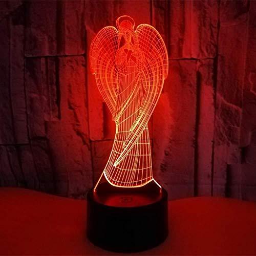 Rosen Engel Der Nacht Licht (Qingtianlove Nachttischlampen Bunte Led Nachtlicht 3D Illusion Usb Atmosphäre Tischlampe Für Kinder Baby Kinder Geschenk Nacht Schlafzimmer Engel)