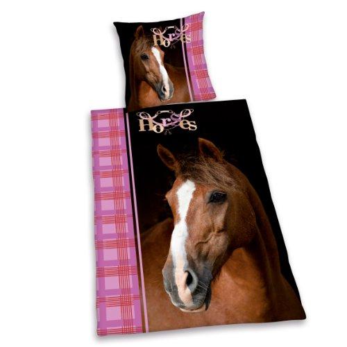98bd78b0a674c0 Herding 442469050151 Bettwäsche Pferd, Kopfkissenbezug 80 x 80 cm und  Bettbezug 135 x 200 cm, ...